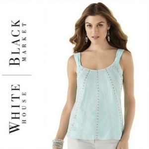 WHBM Turquoise embellished top